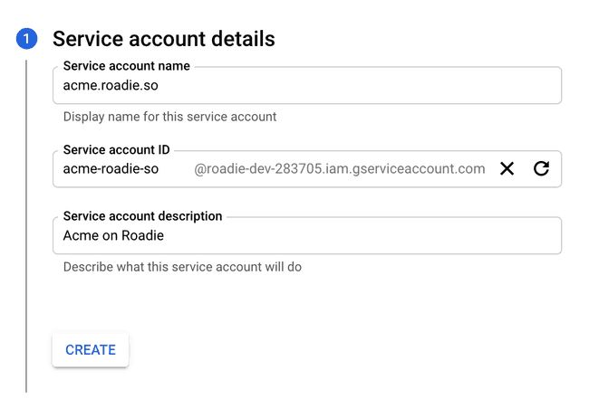 creating service account
